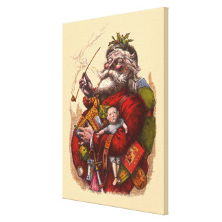 Vintage Christmas, Victorian Santa Claus Pipe Toys Gallery Wrapped Canvas