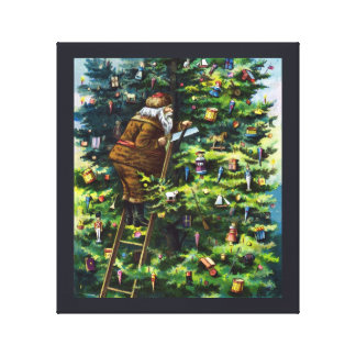 Vintage Christmas, Victorian Santa Claus with Tree Canvas Print