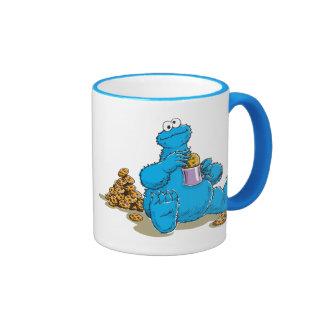 Vintage Cookie Monster Eating Cookies Ringer Coffee Mug