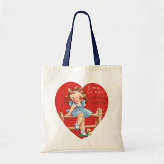 Vintage Cute Valentine's Day, Girl on Fence Budget Tote Bag