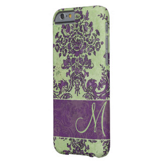 Vintage Damask Pattern with Monogram Barely There iPhone 6 Case