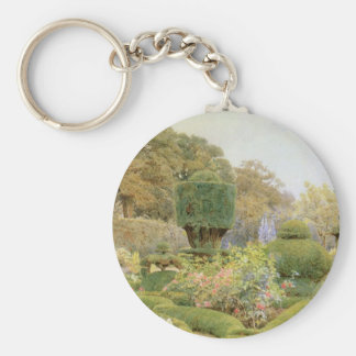 Vintage English Garden, Roses and Pinks by Elgood Basic Round Button Keychain