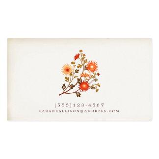 Vintage Floral  Calling Card Red Orange Flowers Business Card