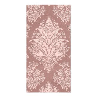 Vintage Floral on Rosy Beige Photo Greeting Card