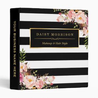 Vintage Floral Wrapping Black White Striped Design 3 Ring Binder