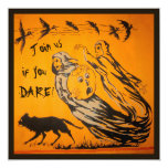 """Vintage Ghosts, Crows, Bats, Cat Halloween Party 5.25"""" Square Invitation Card"""