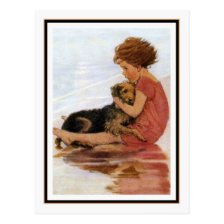 Vintage Girl and Dog by Jessie Willcox Smith Postcard