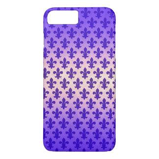 Vintage gradient blue fleur de lis pattern iPhone 7 plus case