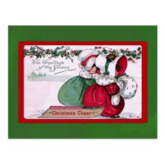 Vintage Holiday Bonnet Girls Postcard
