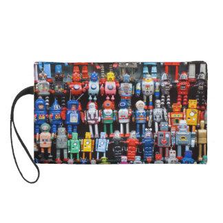 Vintage iron tin toy robot collection bag wristlet