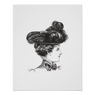 Vintage Lady Elegant Black White 1800s Decorative Poster