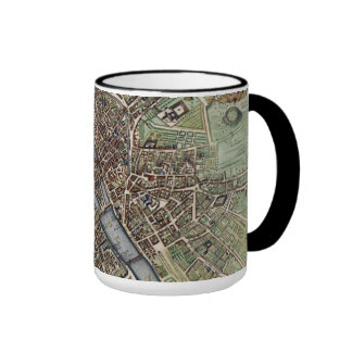 Vintage Map of Paris Ringer Coffee Mug