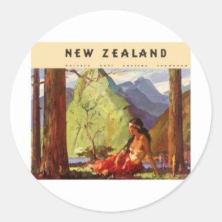 Vintage New Zealand Round Sticker