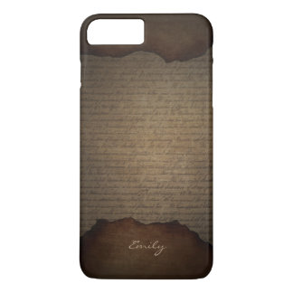 Vintage Old Scripts Background with Name iPhone 7 Plus Case
