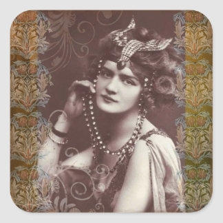 Vintage Party Girl on Victorian Tapestry Stickers