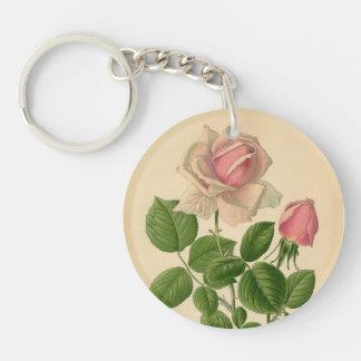 Vintage Pink Rose Keychain
