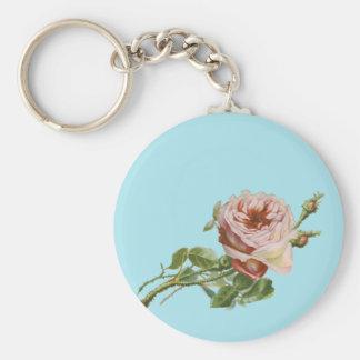 Vintage Pink Rose on Pale Aqua Basic Round Button Keychain