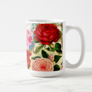 Vintage Pretty Chic Floral Rose Garden Collage Classic White Coffee Mug