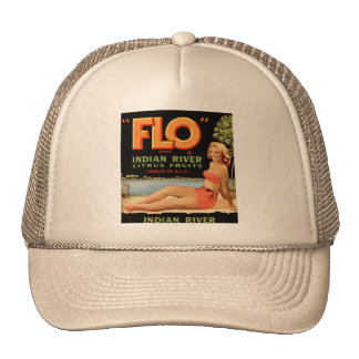 Vintage Retro Kitsch Fruit Crate Pin Up Flo Girl Trucker Hat