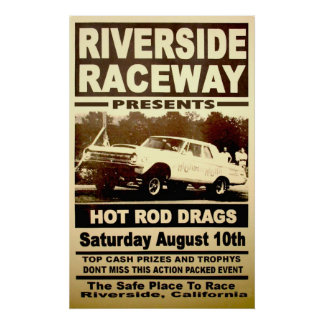 Vintage Riverside Raceway Drag Racing Poster