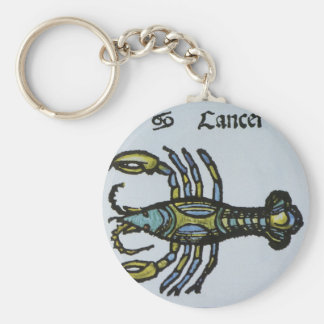 Vintage Sign of the Zodiac, Cancer the Crab Basic Round Button Keychain