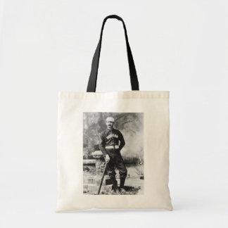 Vintage Sports Photo, Boston Baseball Player Budget Tote Bag
