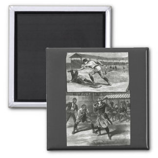 Vintage Sports, Victorian Women's Baseball Teams Square Magnet