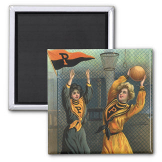 Vintage Sports, Women Team Playing Basketball Game Square Magnet