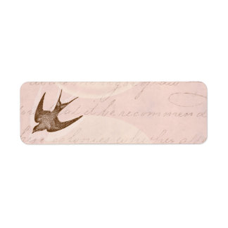 Vintage Swallow Illustration - 1800's Antique Bird Return Address Label