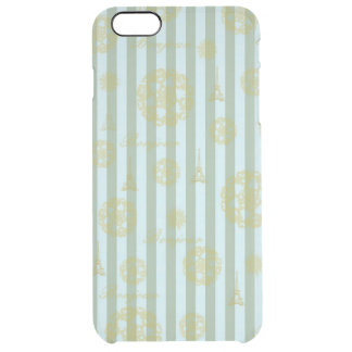 Vintage Teal Stripes Gold French Damask Pattern Clear iPhone 6 Plus Case