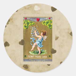 Vintage True Love Valentine Cupid Round Sticker