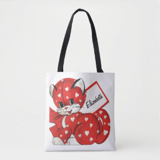 Vintage Valentine Red Cat White Hearts Cute Love Tote Bag