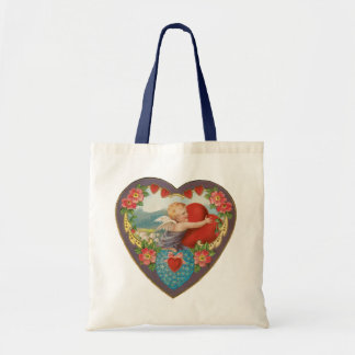 Vintage Victorian Valentine's Day, Angel w Heart Budget Tote Bag