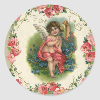 Vintage Victorian Valentine's Day, Cherub on Phone Round Sticker