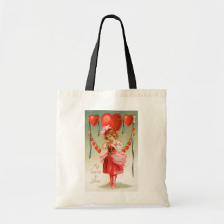 Vintage Victorian Valentines Day, Girl with Hearts Budget Tote Bag