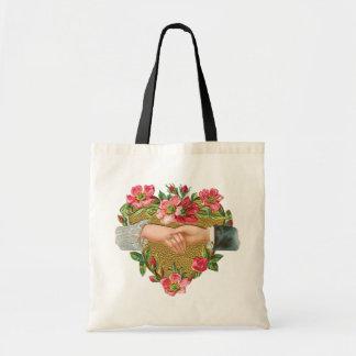 Vintage Victorian Valentine's Day, Hands w Flowers Budget Tote Bag