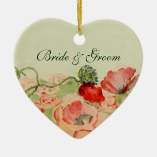 Vintage Wedding, Red Poppy Flowers Floral Meadow Ceramic Heart Ornament