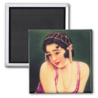 Vintage Women Japanese Beautiful Geisha Girl Square Magnet