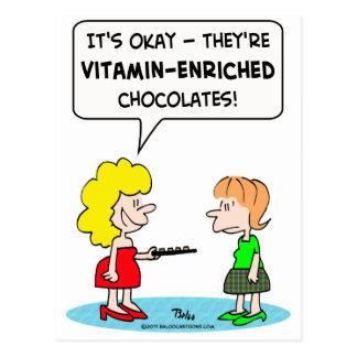 vitamin enriched chocolates dieting postcard