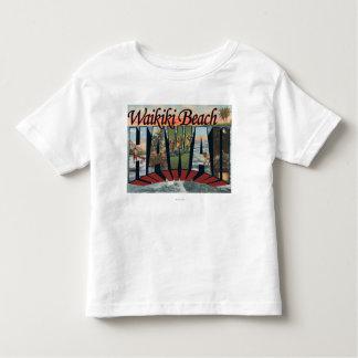 Waikiki Beach, Hawaii - Large Letter Scenes Tee Shirt