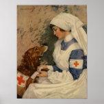 War Nurse with Golden Retriever 1917 WW1 Poster