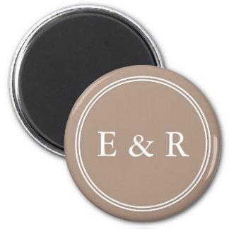 Warm Taupe Beige with White Wedding Detail 2 Inch Round Magnet