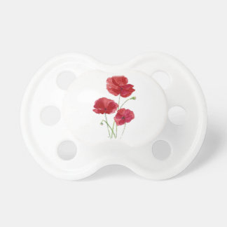 Watercolor Red Poppy Garden Flower Floral art Baby Pacifiers