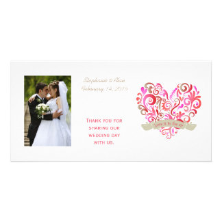 Watercolor Swirl Heart Pink Gold Photo Cards