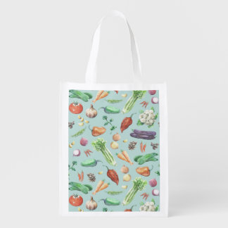 Watercolor Veggies & Spices Reusable Grocery Bag