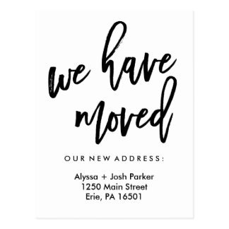 We Have Moved   Simple Modern Typography Postcard
