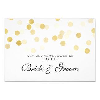 "Wedding Advice Card Faux Gold Foil Glitter Lights 3.5"" X 5"" Invitation Card"