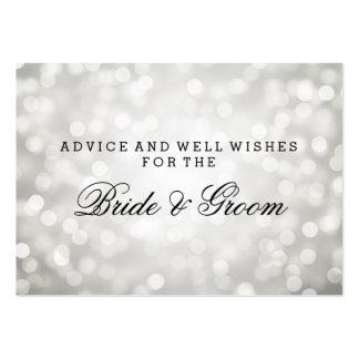 Wedding Advice Card Silver Glitter Lights Large Business Card