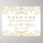 Wedding Guest Book Sign | Gold Vintage Glamour Poster