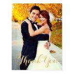 Wedding Photo Note Cards   Gold Script Postcard